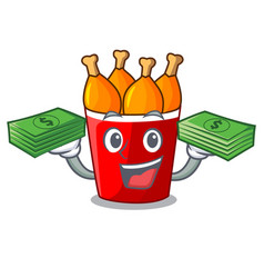 With money fried chicken in big cartoon bucket box vector