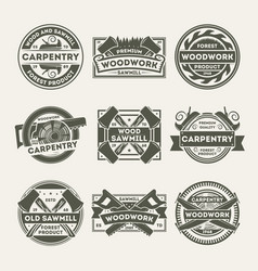 Woodwork company vintage isolated label set vector