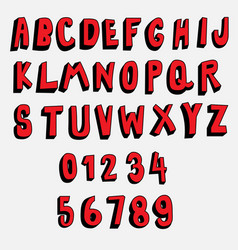 3d cartoon font red and black collection vector image
