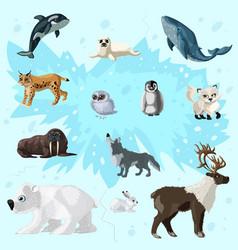 cartoon arctic fauna set vector image vector image
