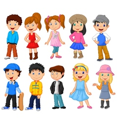Cute children cartoon collection vector image
