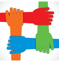 four hand join each other stock vector image