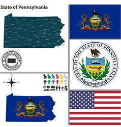 Map of Pennsylvania with seal vector image vector image