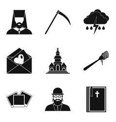 Omen icons set simple style vector