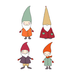 set of cute cartoon gnomes funny elves isolated vector image vector image