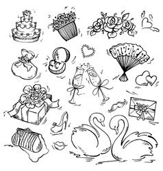 Set of wedding icon vector image vector image