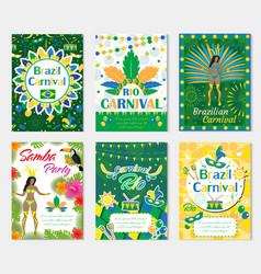 welcome brazil carnival set poster invitation vector image