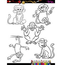 cartoon monkeys coloring book vector image vector image