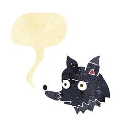 cartoon unhappy dog with speech bubble vector image vector image
