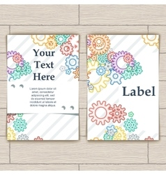 Card with Colorful Background Bector Gears vector image