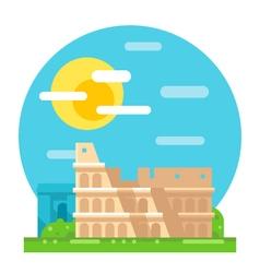 Colosseum ruin flat design landmark vector