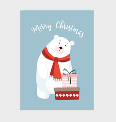 cute christmas card invitation with hand drawn vector image vector image