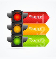 realistic 3d detailed road traffic light banner vector image vector image