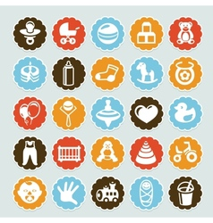 Set of stickers with kids and toys vector image