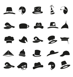 various black hats icons set eps10 vector image vector image