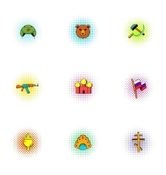 Attractions of Russia icons set pop-art style vector image vector image