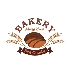 Bakery shop label emblem with rye sliced bread vector image