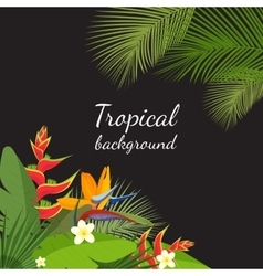 Colorful tropical flower plant and leaf pattern vector image vector image
