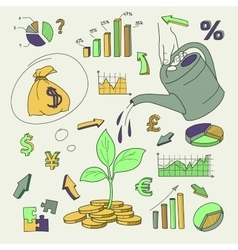 Human hand watering money coin tree with can vector image