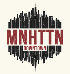 manhattan new york graphic t-shirt design tee vector image