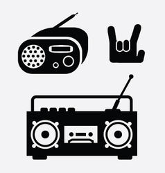 radio and tape music icons vector image vector image