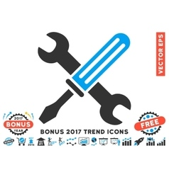 Tools Flat Icon With 2017 Bonus Trend vector image vector image