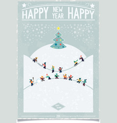 Vintage new year card with playing child vector image vector image