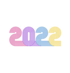 2022 line retro 70s style numbers new year vector