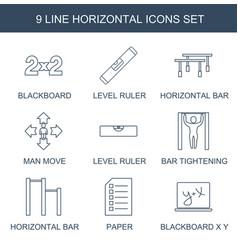 9 horizontal icons vector