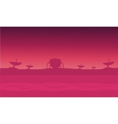 Alien spacecraft in fog silhouettes vector