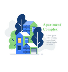 Apartment complex residential neighborhood house vector