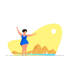 Attractive woman plus size dancing on beach vector