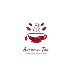 Autumn authentic traditional tea logo with leaf vector