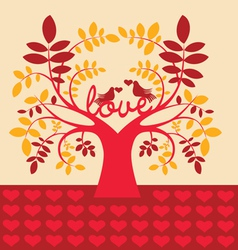 Autumn tree with love message vector image