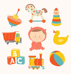 Baby girl with toys ball blocks rubber duck vector