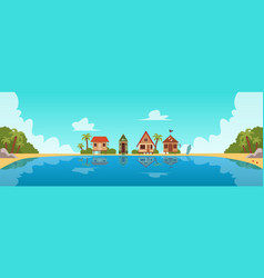 beach resort with guest houses or bungalows flat vector image