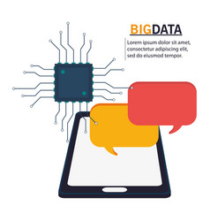 Big data smartphone circuit bubble speech vector