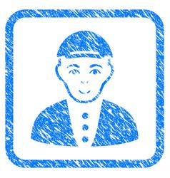 Boy framed stamp vector