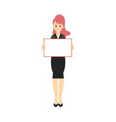 Business woman in suit with placard vector
