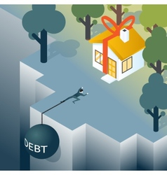 Businessman or consumer with debt weight vector