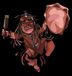 cartoon man shaman dancing dance with a tambourine vector image