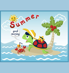 cartoon of holiday in the beach with funny turtle vector image
