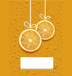christmas balls created by orange slices vector image