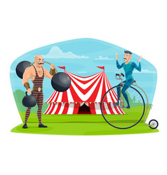 circus equilibrist on unicycle and muscleman show vector image