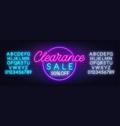 clearance sale neon sign on dark background vector image