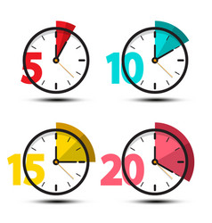 Clock icons set isolated - 5 10 15 and 20 minutes vector