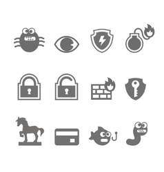 Computer criminal icons vector