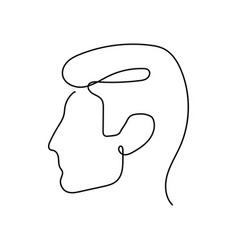 Continuous one line abstract face man side vector