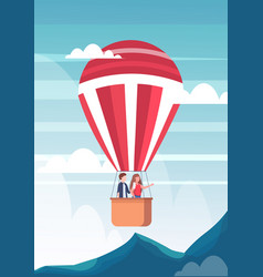 couple flying in basket hot air balloon man vector image