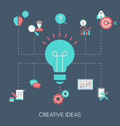 creative idea concept with light bulb creative vector image